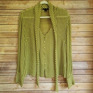 Banana Republic Blouse Large Silk Tie Neck EUC